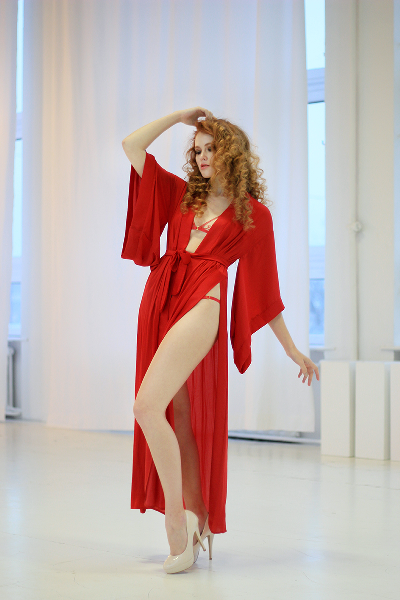 Red Kimono With Splits and Cut-out in the Back