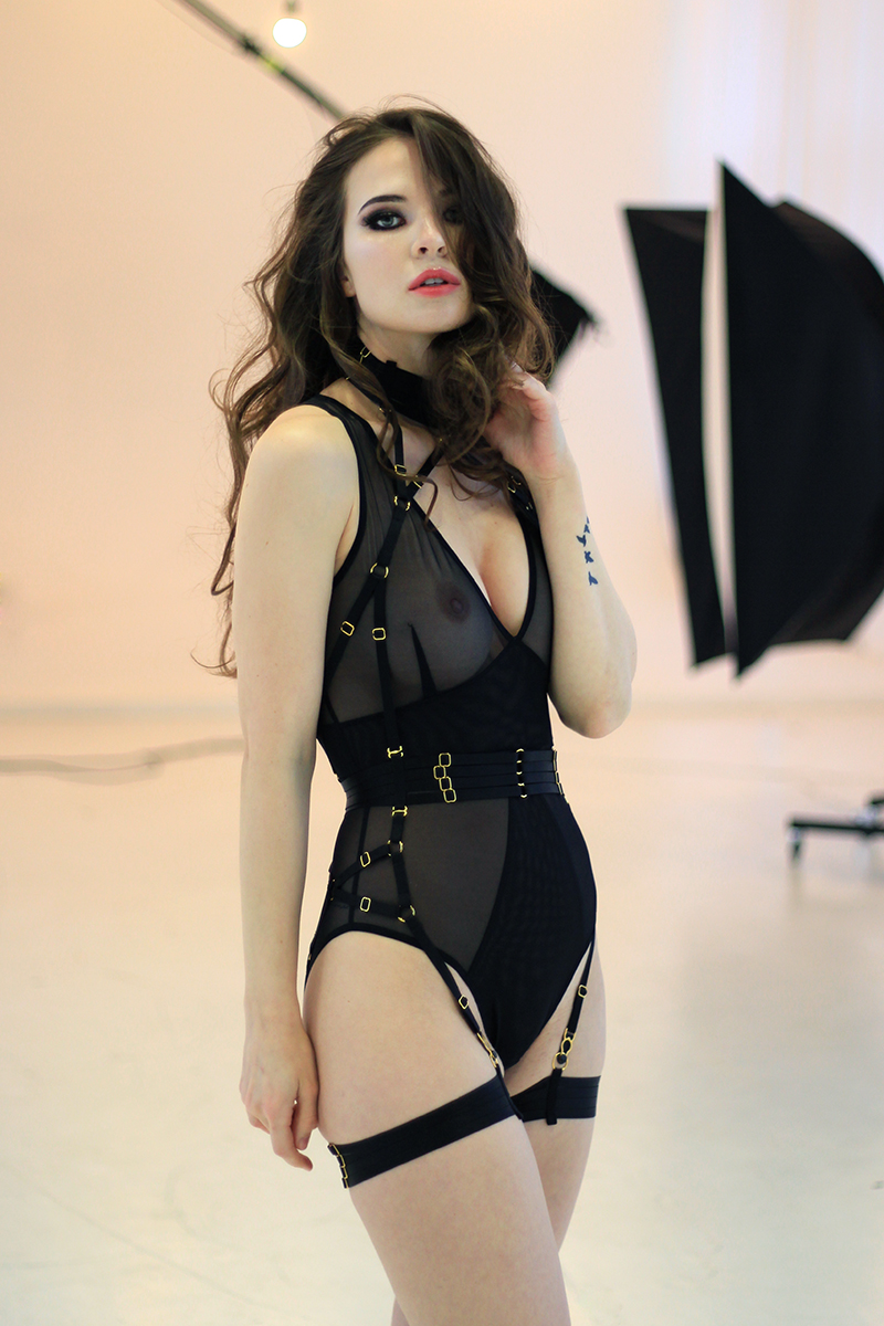 ALIVIA Bondage Playsuit in Black
