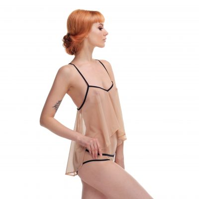 Nude Mesh Babydoll Top With Bondage Back