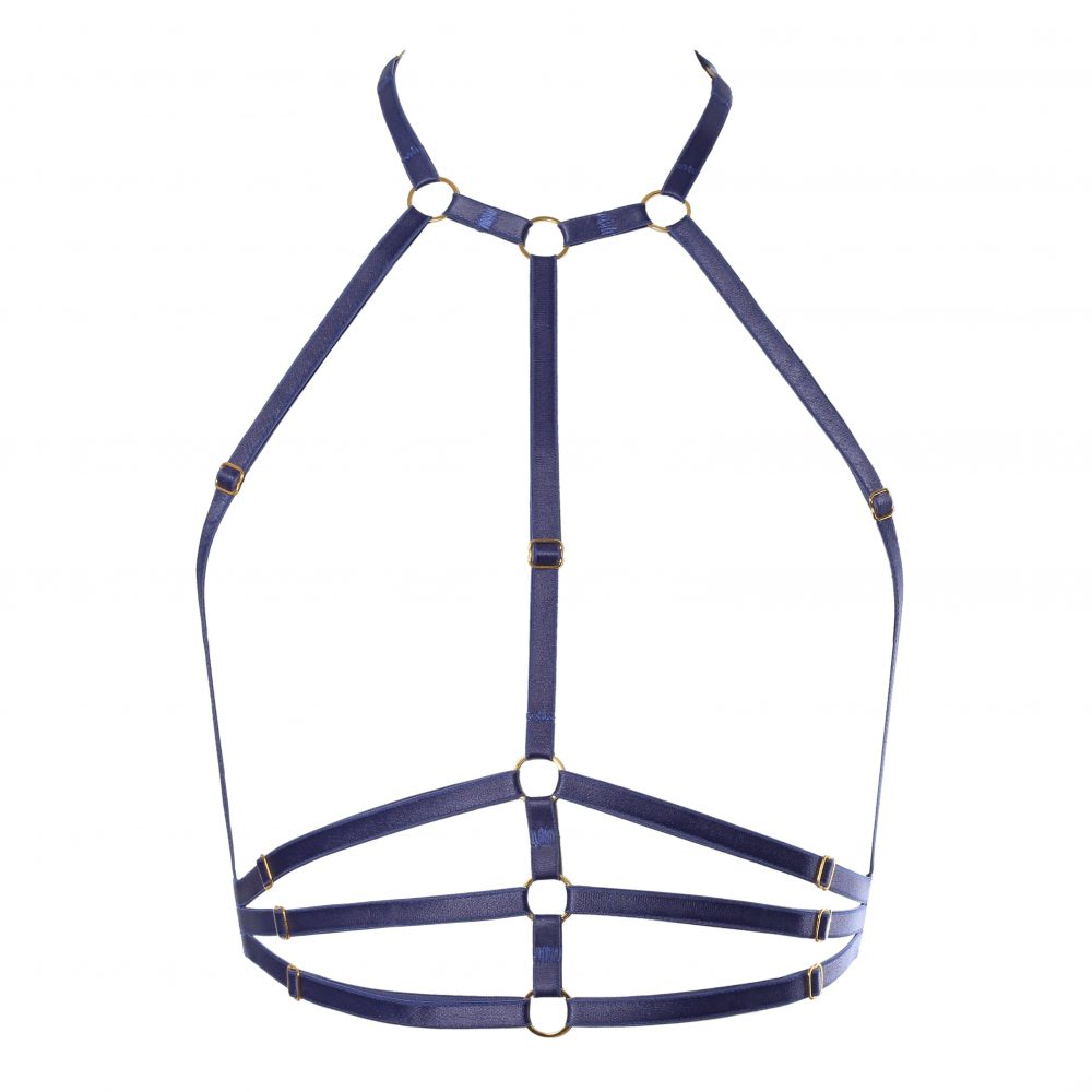 The Samantha Harness in Blue with Gold