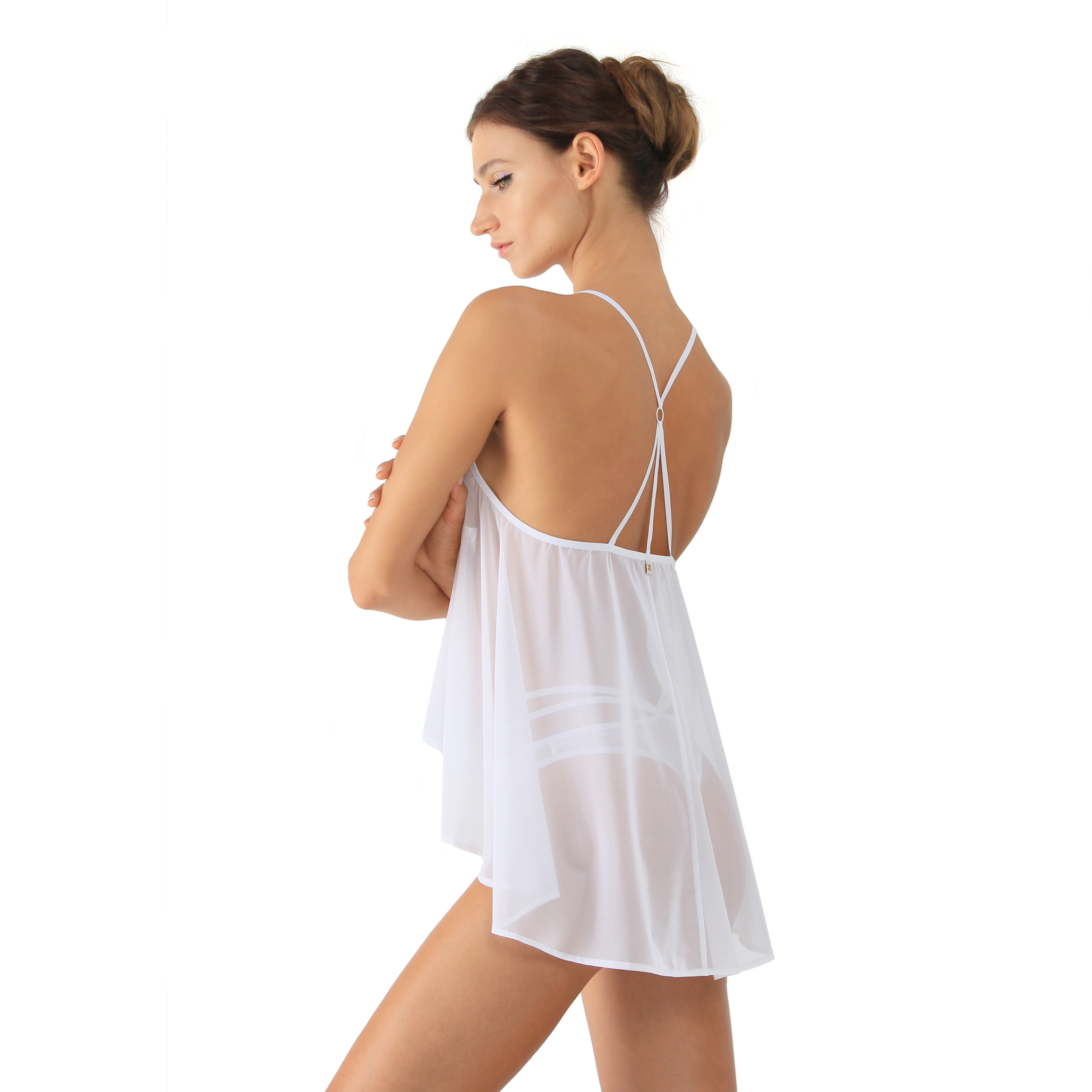 81e458bd83de3 White Mesh Babydoll Top With Bondage Back by Flash you and me